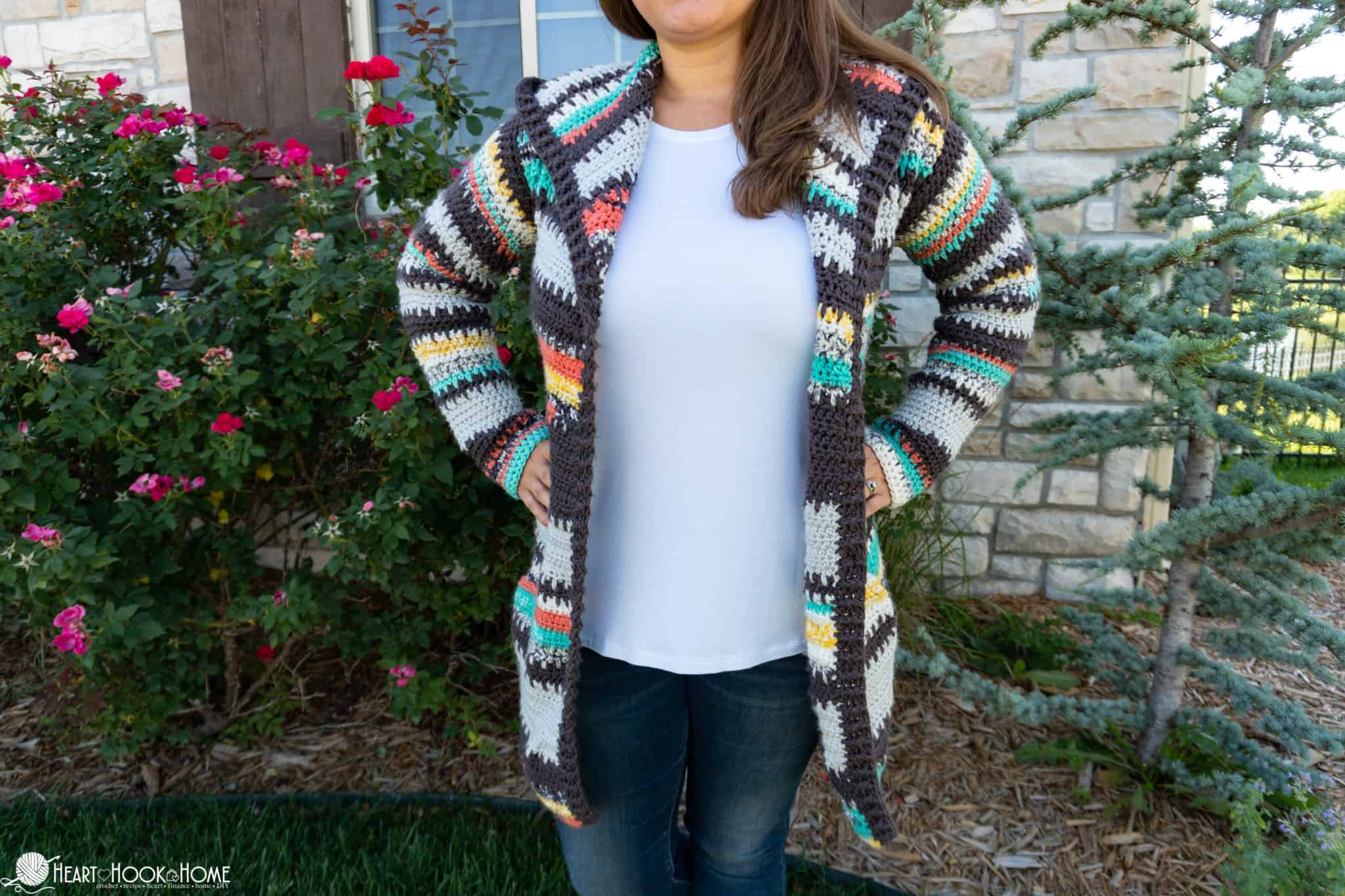 Painted Canyon Hooded Cardigan Crochet Pattern