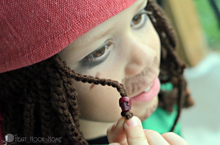 Captain Jack Sparrow Inspired hat for Halloween crochet pattern beads