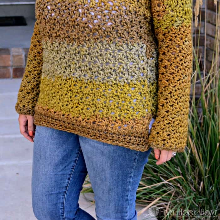 Easy Chunky fall sweater free crochet pattern