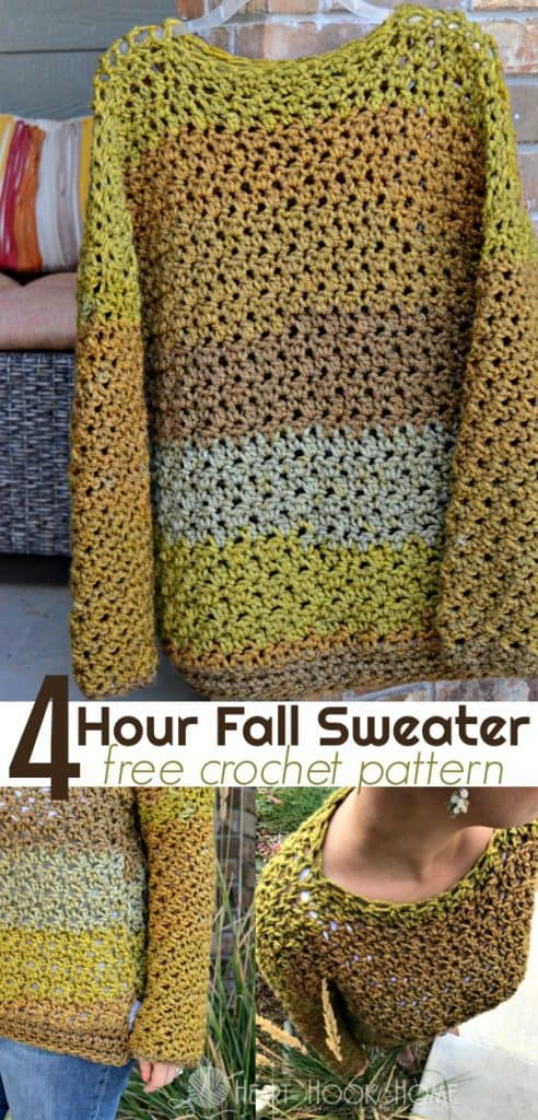 f9a948744 Four-Hour Fall Sweater Free Crochet Pattern