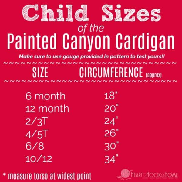 child size chart of the Painted Canyon Cardigan