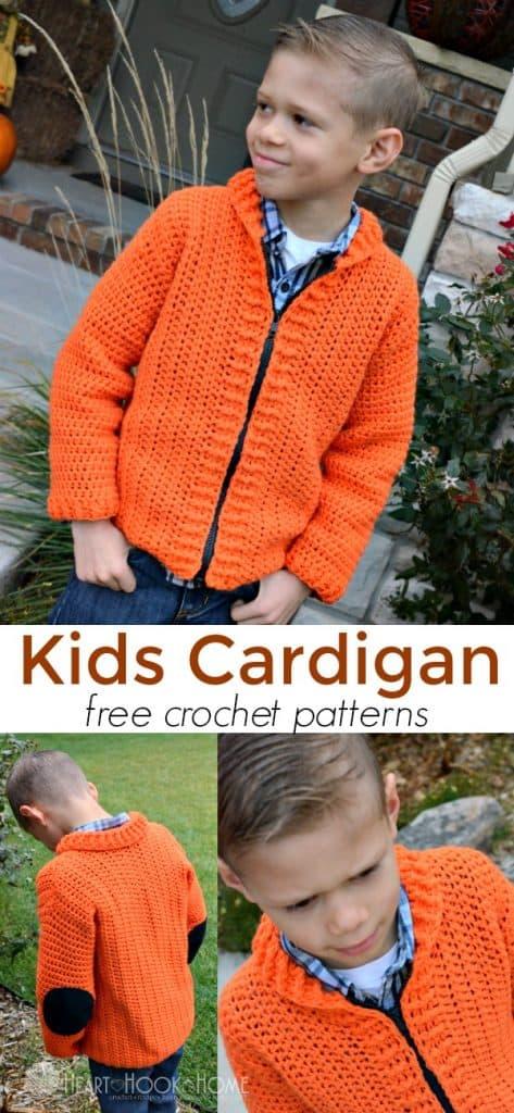 Cozy Kids Cardigan Free Crochet Pattern Size 6/8