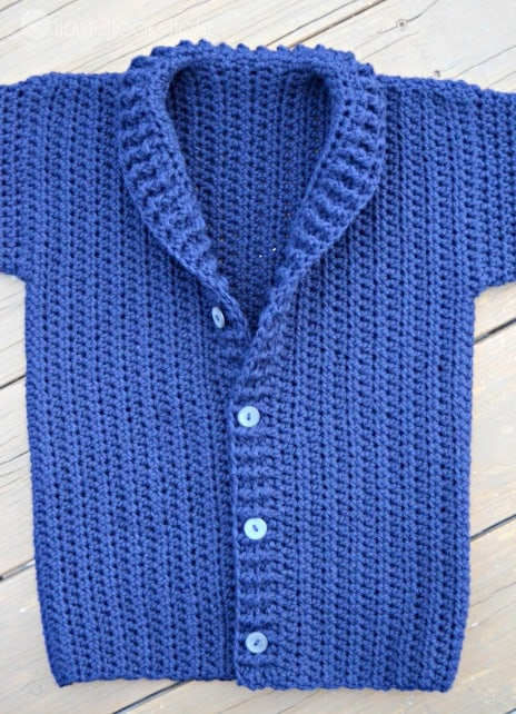 Finished collar on the Cozy Classroom Cardigan series by heart hook home