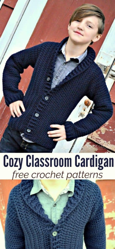 Free cardigan crochet pattern for boys, size 8 10
