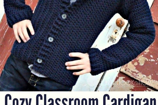 Cozy Classroom Size 8/10 Cardigan Free Crochet Pattern
