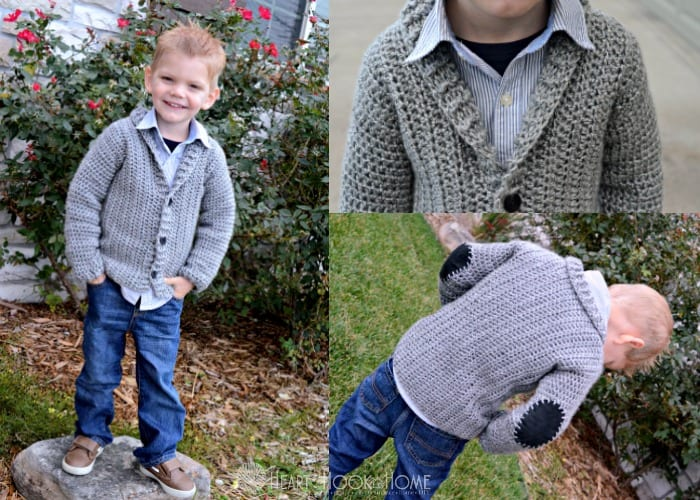 Toddler size Cozy Classroom Cardigan free crochet pattern