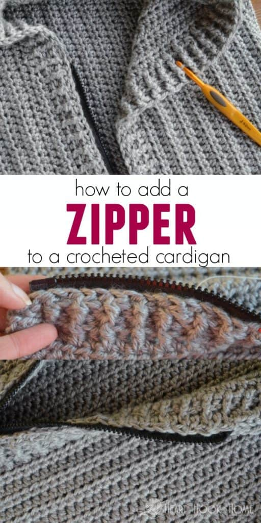 Tutorial for adding a zipper to a crochet cardigan