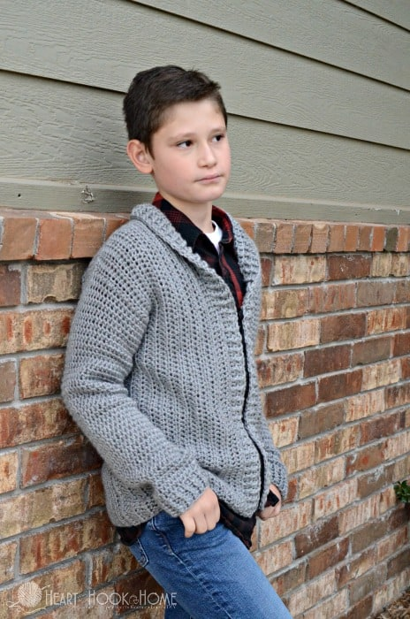 Youth boys cardigan crochet pattern