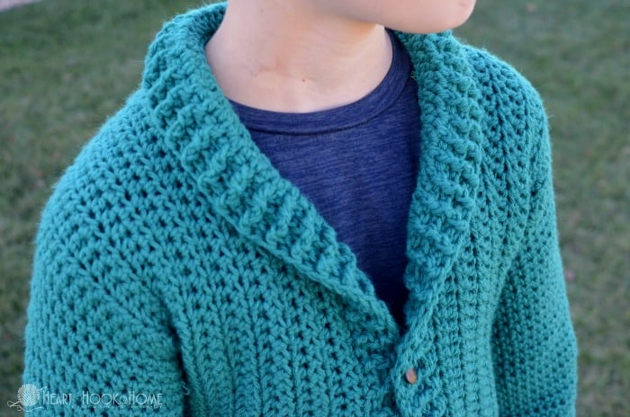 Youth cardigan crochet pattern for boys
