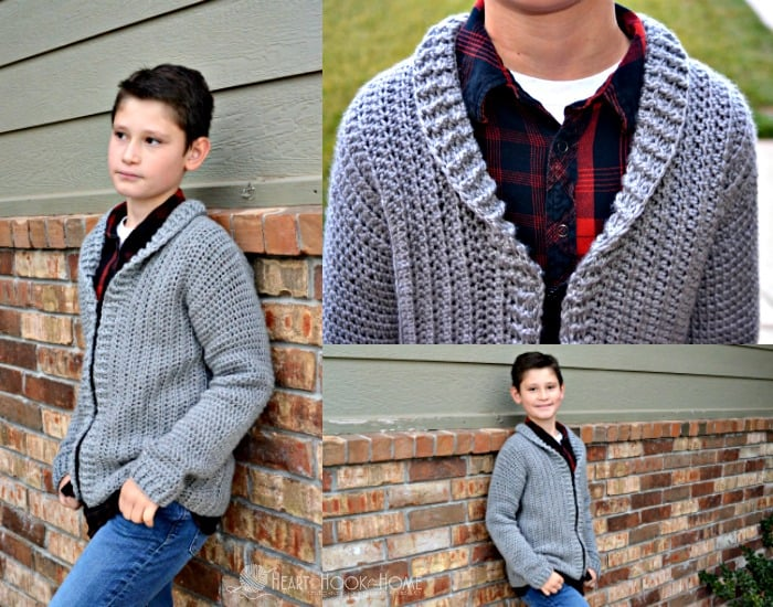 Youth size Large cardigan crochet pattern for boys