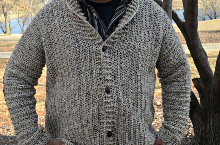 Cozy Coed Cardigan Crochet pattern for men