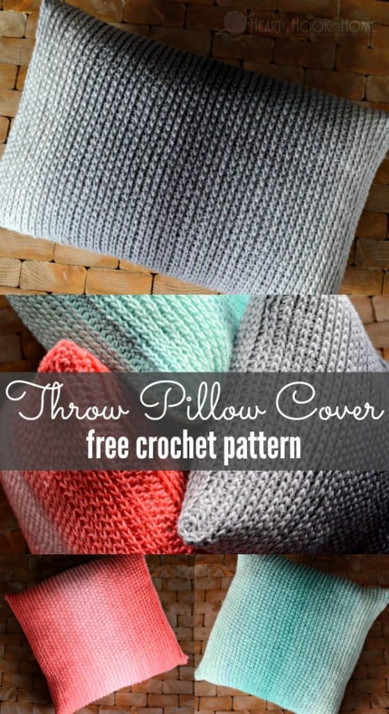 Throw pillow crochet pattern using red heart ombre