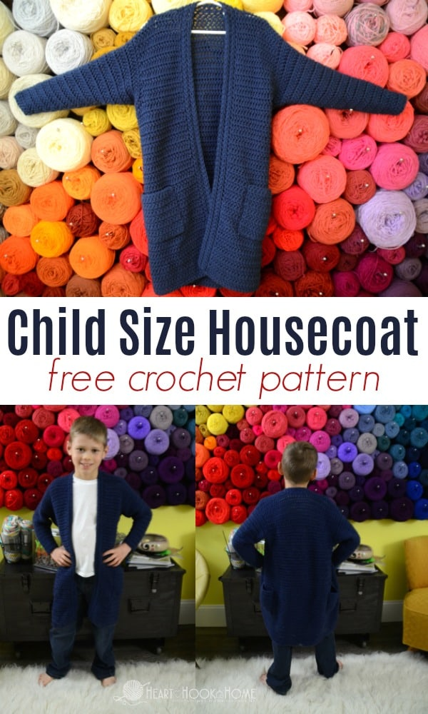 Child size housecoat - a free crochet pattern