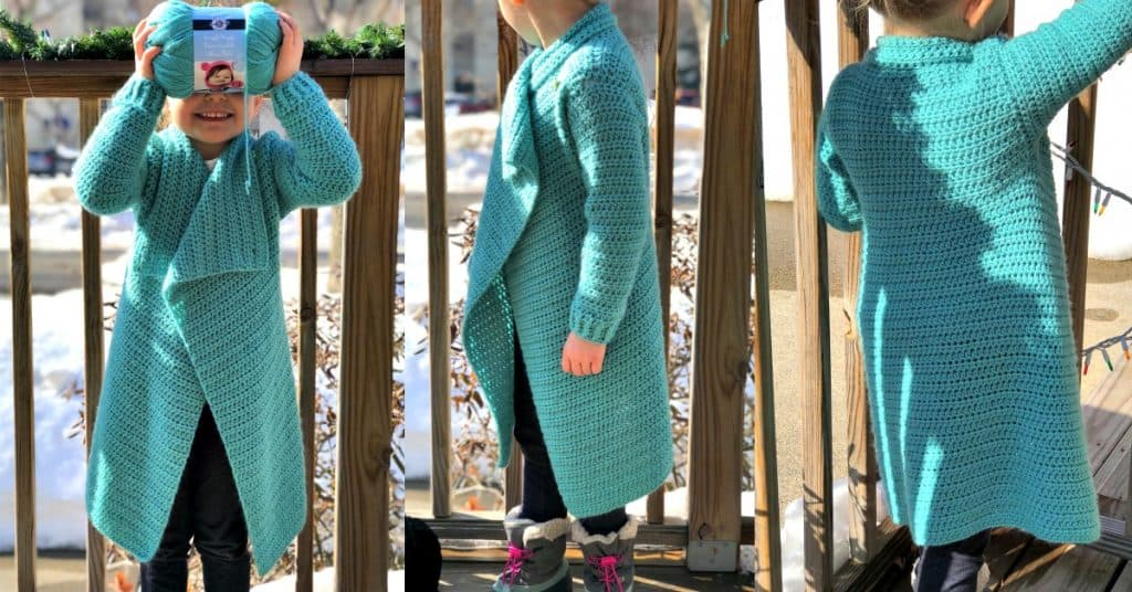 three photos of little girl modeling blanket cardigan crochet pattern