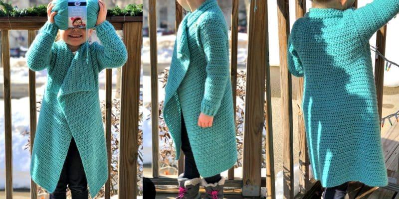 Child Size Blanket Cardigan – Free Crochet Pattern – Size 4/5T
