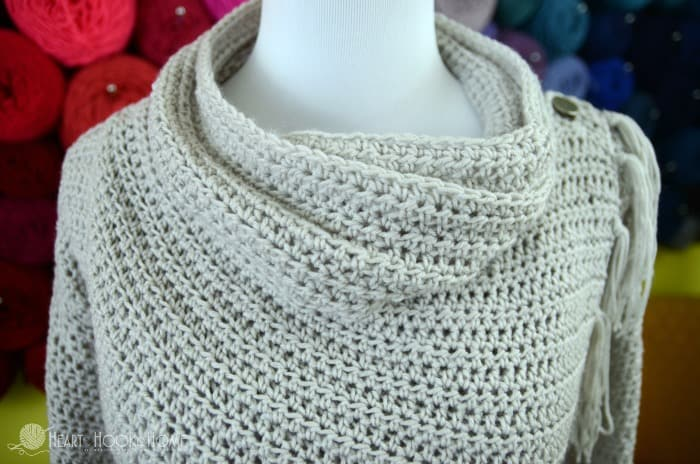drape neck collar on blanket cardigan crochet pattern