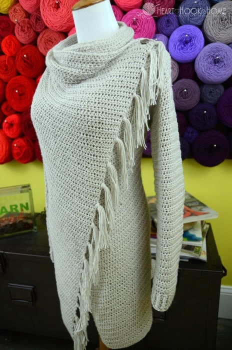 crochet pattern for Blanket Cardigan with fringe
