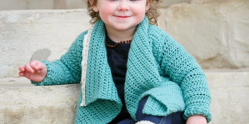 Adorable Blanket Cardigan crochet pattern for children, size 18 months