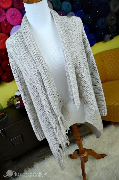 blanket cardigan shown open with fringe