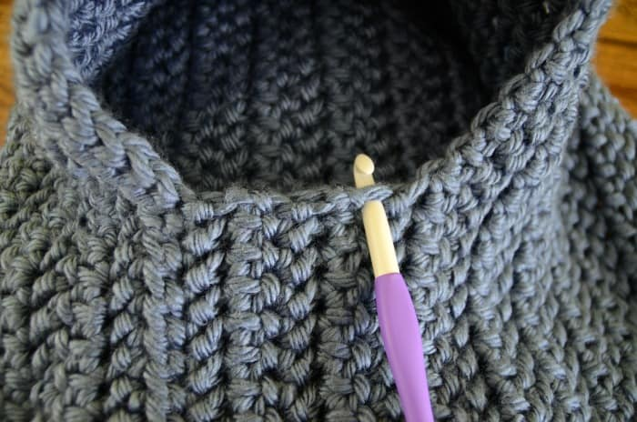 Starting sleeves on a chunky housecoat crochet