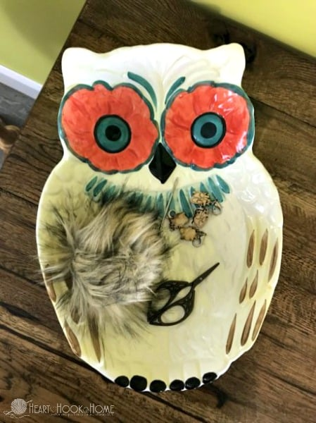 owl platter made of glass
