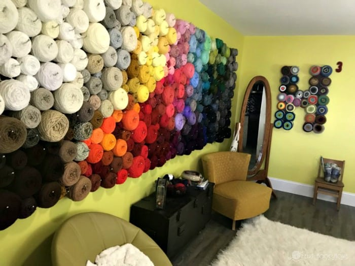 yarn wall with yarn cakes