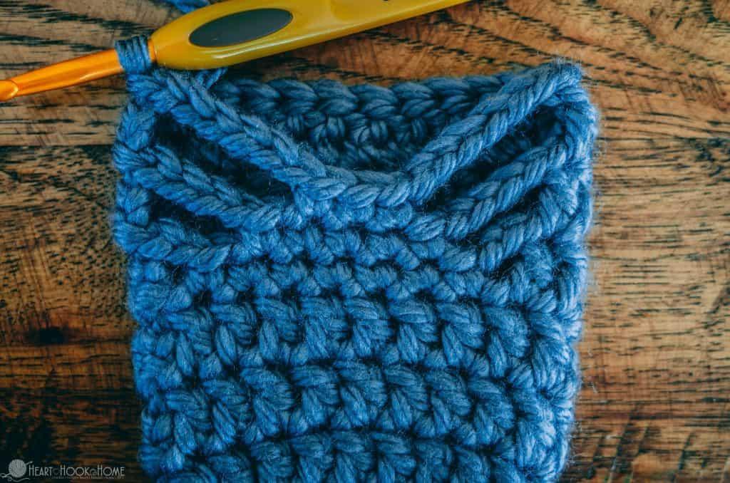 Halfway through crocheting chunky slipper crochet pattern