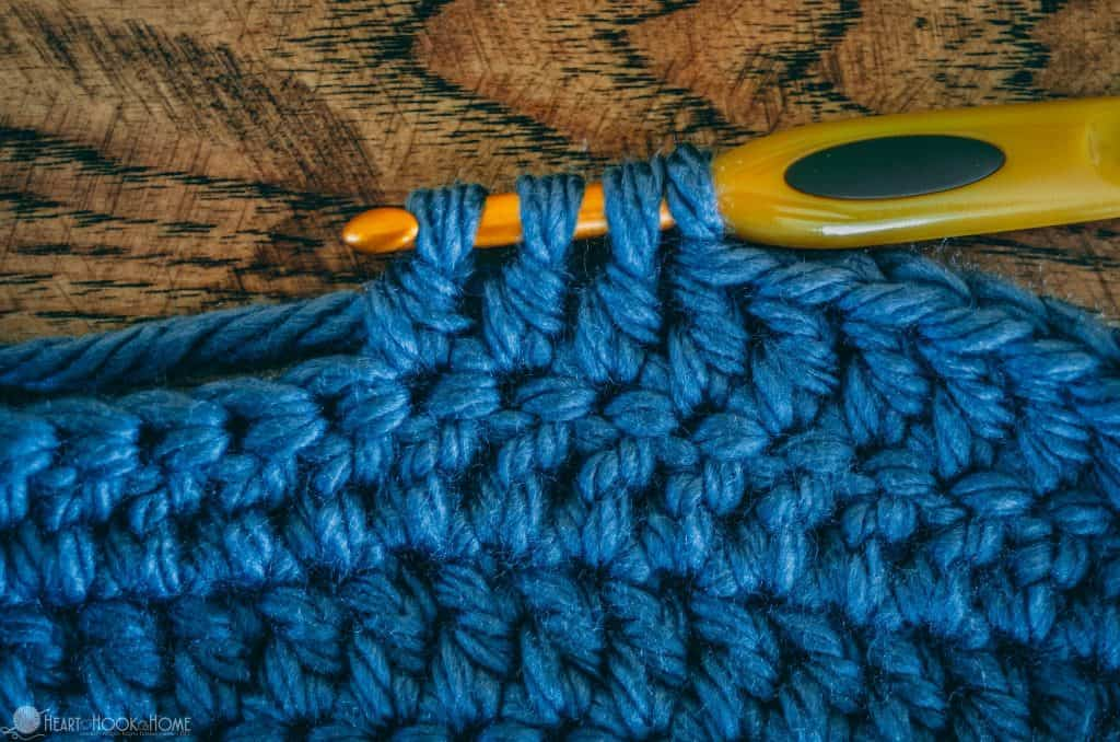 Double Crochet 3 together for heel of chunky slipper pattern