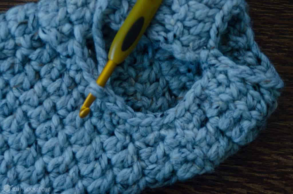 Single crocheting around opening of slipper