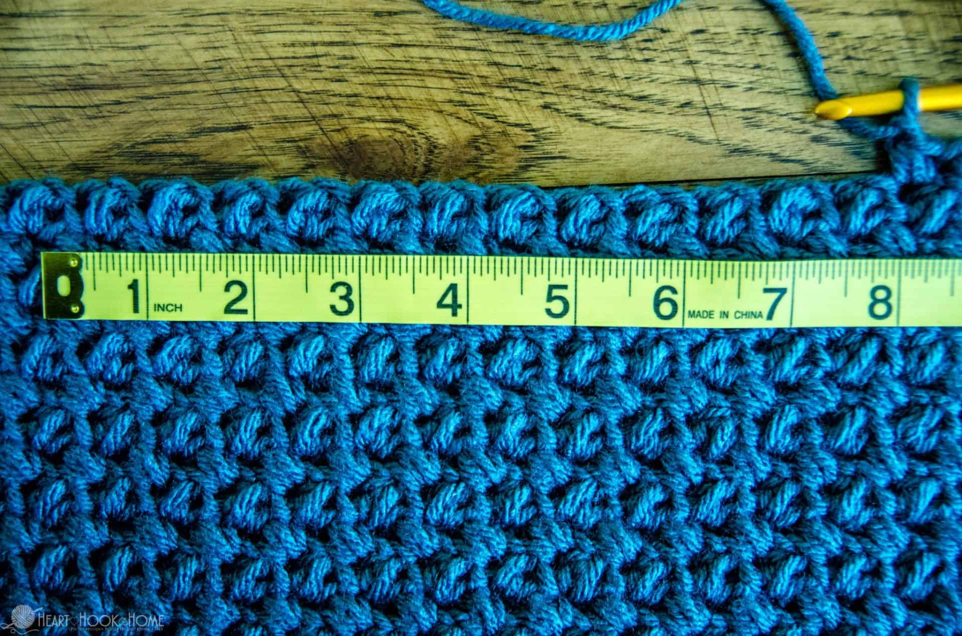 measuring out crochet stitches for an armhole