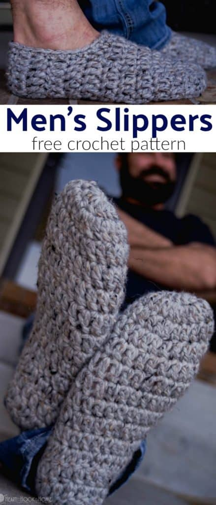 Man modeling crocheted slippers