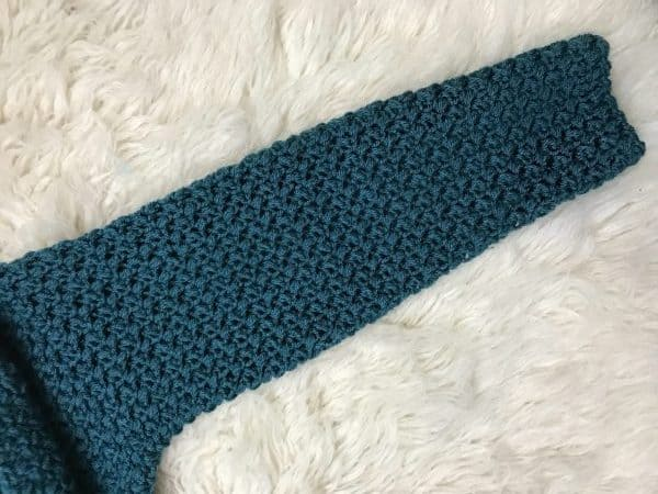 teal crocheted sleeve