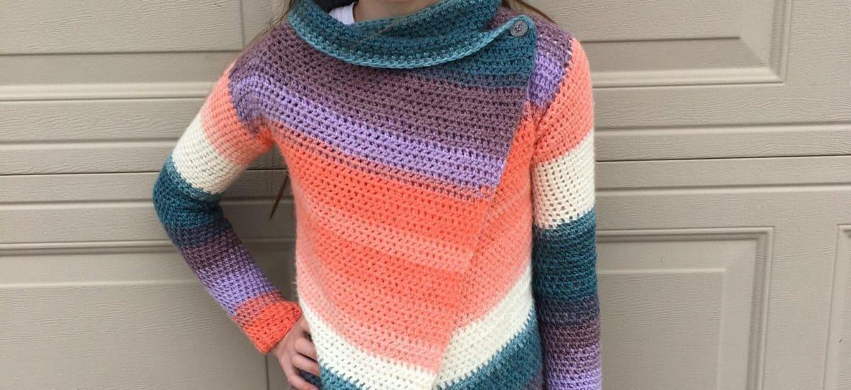 Child Size Blanket Cardigan – Free Crochet Pattern – Size 12/14