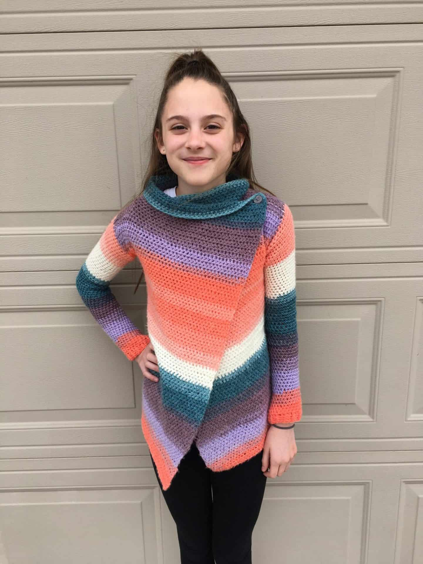 Child Size Blanket Cardigan Free Crochet Pattern Size 12 14