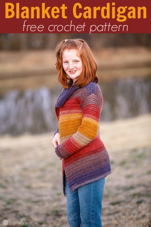 Child Size Blanket Cardigan Free Crochet Pattern Size 1416