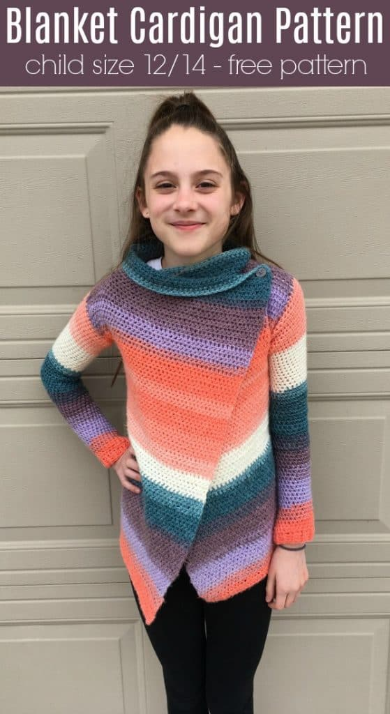 Child Size Blanket Cardigan Free Crochet Pattern Size 1214