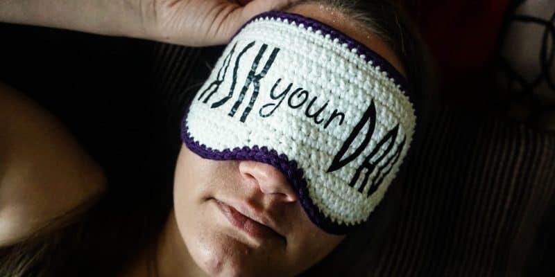 """Ask Your Dad"" Crochet Sleep Mask: Free Crochet Pattern"