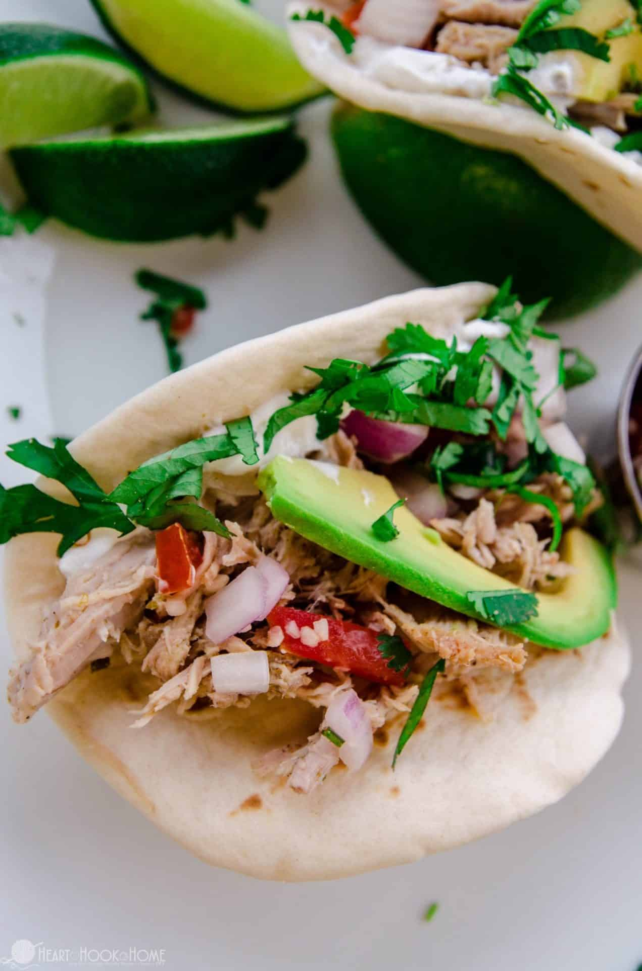 Street tacos with shredded prok, avocado, cilantro and pico de gallo