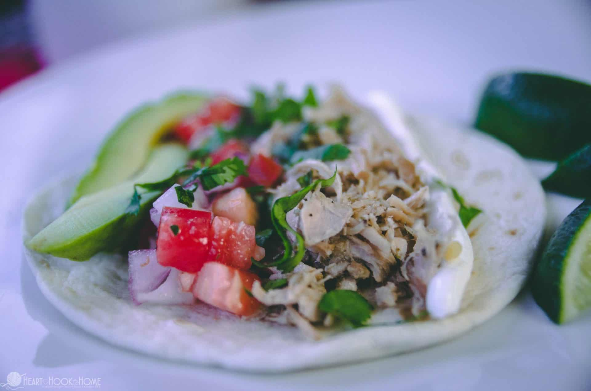 Street tacos with shredded pork, sour cream, avocados and pico de gallo