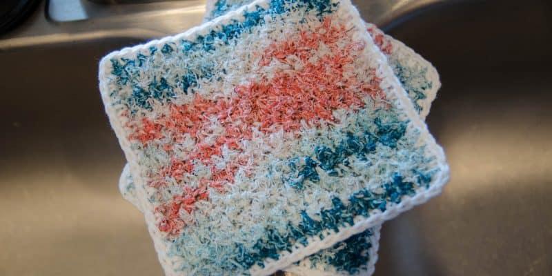 Two-Sided Scrubby Dishcloth Free Crochet Pattern