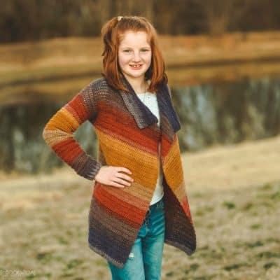 Child Size Blanket Cardigan – Free Crochet Pattern – Size 14/16