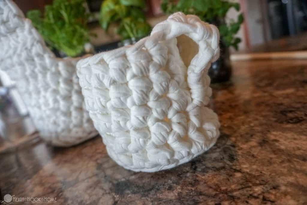 Folded back flap for hanging crocheted basket