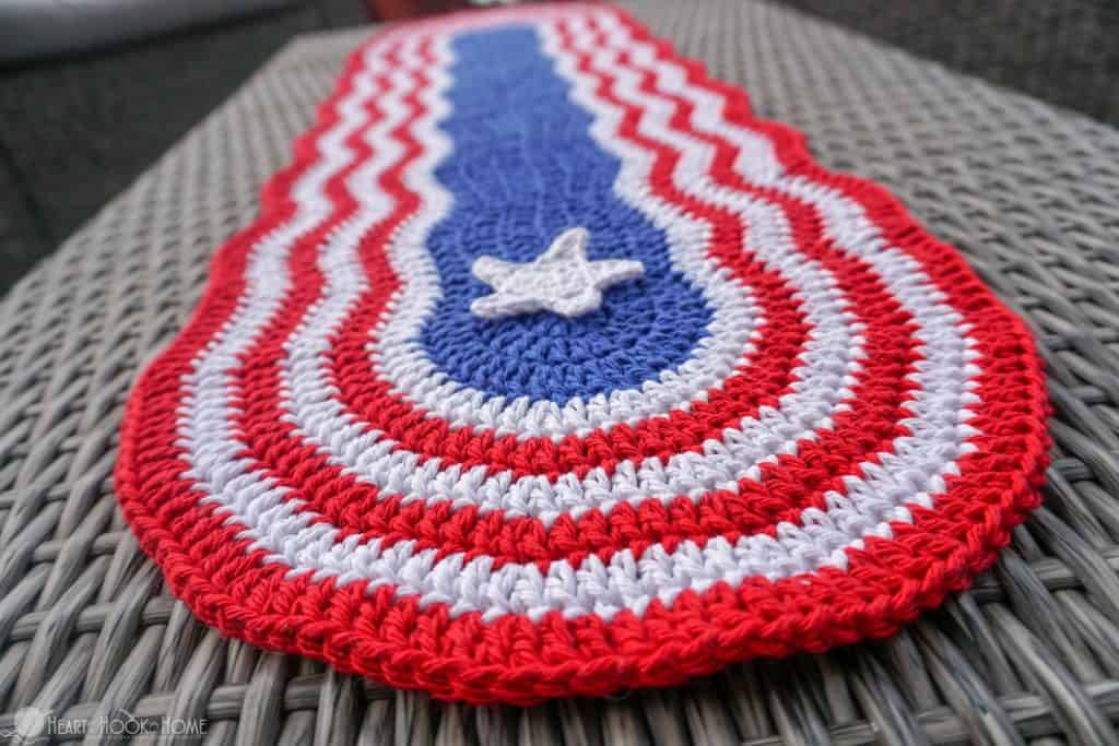 red, white, and blue table runner with white star