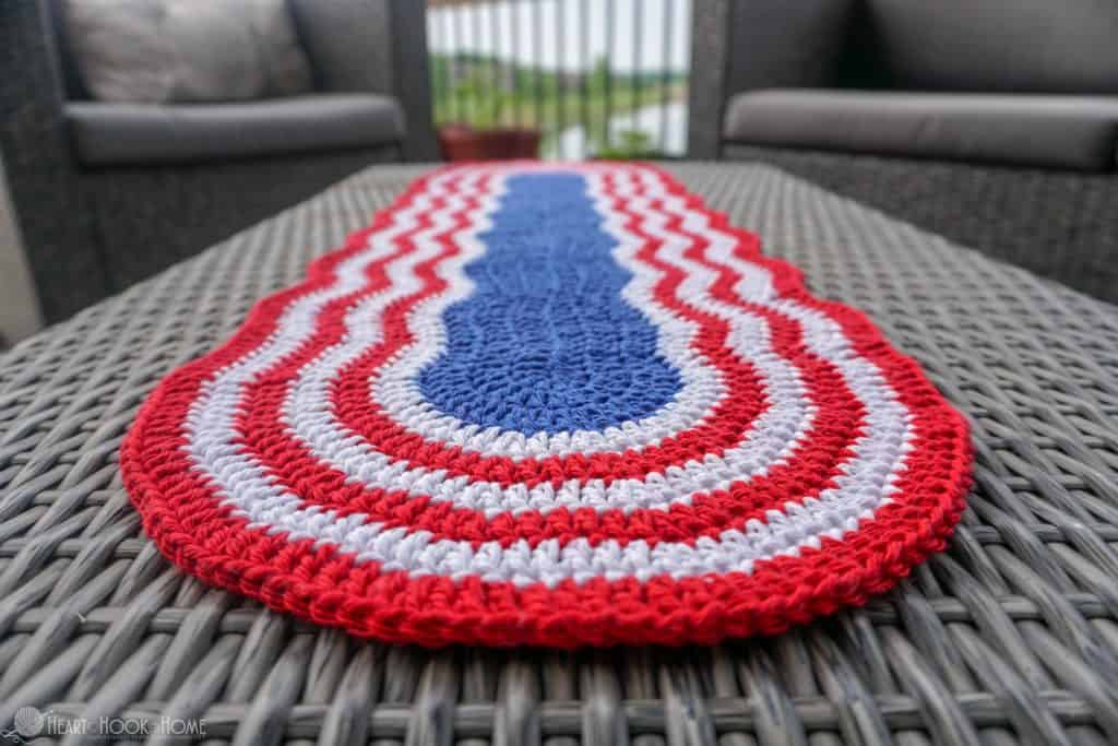 red, white, and blue table runner for 4th of July