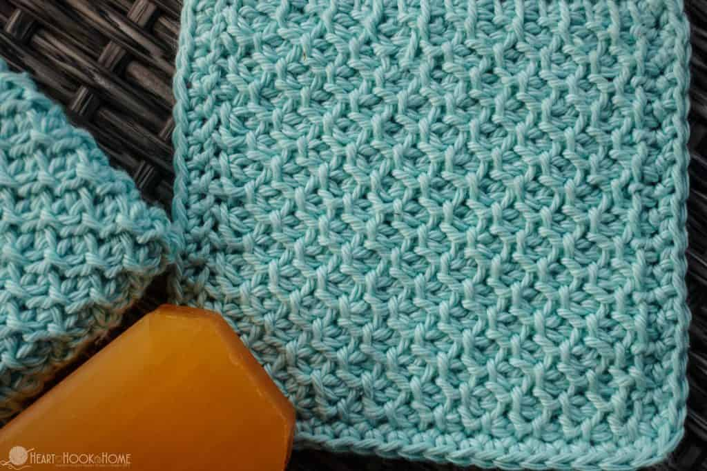 Face Cloth Crochet Pattern Featuring Tunisian Honeycomb stitch