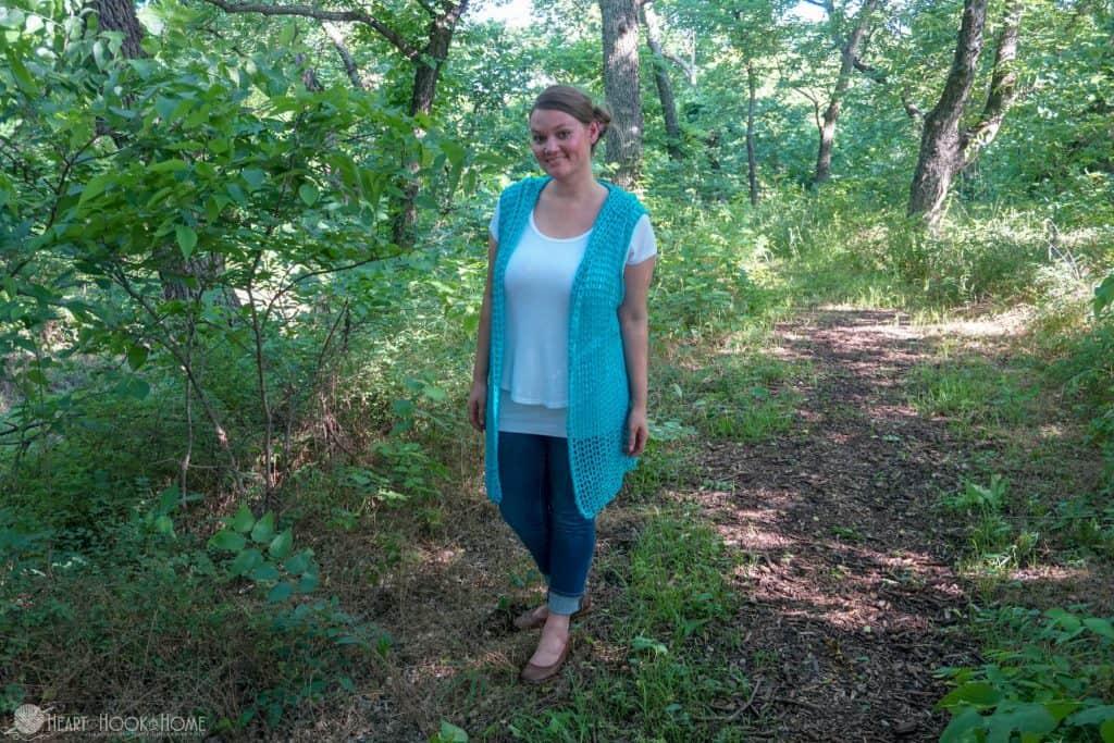 Sweet Summertime Lightweight Hooded Vest Free Crochet Pattern