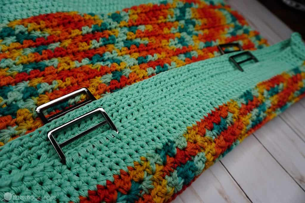 Buckles crocheted onto bag