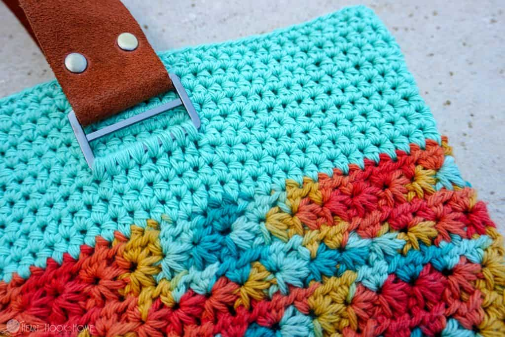 How to add leather straps to a crocheted bag