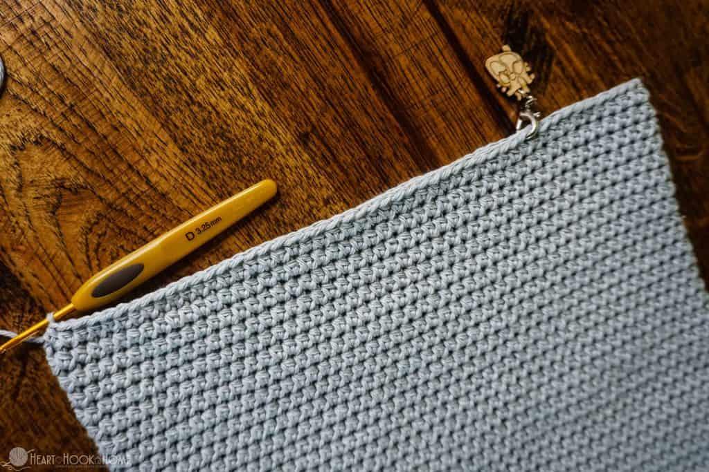 Finishing row 48 of the foldover crossbody bag