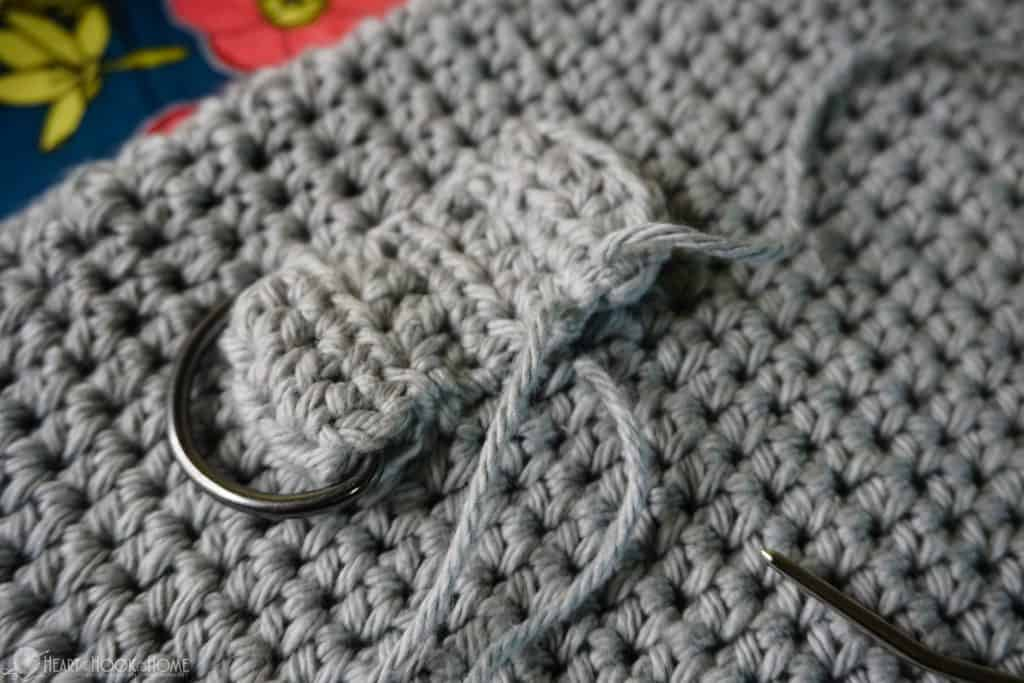 How to sew straps onto a crocheted bag